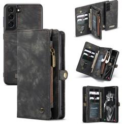 CaseMe - Samsung Galaxy S21 FE Hoesje - 2 in 1 Book Case en Back Cover - Zwart