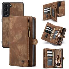 CaseMe - Samsung Galaxy S21 FE Hoesje - 2 in 1 Book Case en Back Cover - Bruin