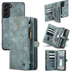 CaseMe - Samsung Galaxy S21 FE Hoesje - 2 in 1 Book Case en Back Cover - Blauw