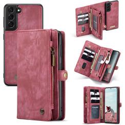 CaseMe - Samsung Galaxy S21 FE Hoesje - 2 in 1 Book Case en Back Cover - Rood