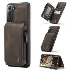 CaseMe - Samsung Galaxy S21 FE Hoesje - Back Cover - met RFID Pasjeshouder - Donker Bruin