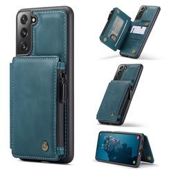 CaseMe - Samsung Galaxy S21 FE Hoesje - Back Cover - met RFID Pasjeshouder - Blauw