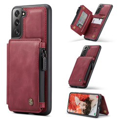 CaseMe - Samsung Galaxy S21 FE Hoesje - Back Cover - met RFID Pasjeshouder - Rood