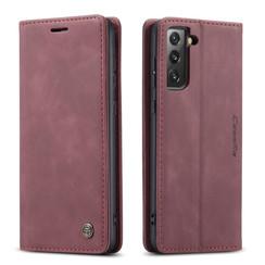 CaseMe - Samsung Galaxy S21 FE Hoesje - Wallet Book Case - Magneetsluiting - Donker Rood