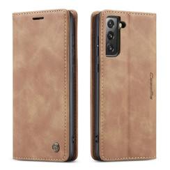 CaseMe - Samsung Galaxy S21 FE Hoesje - Wallet Book Case - Magneetsluiting - Licht Bruin