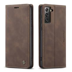 CaseMe - Samsung Galaxy S21 FE Hoesje - Wallet Book Case - Magneetsluiting - Donker Bruin