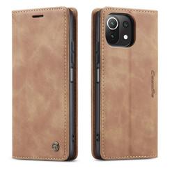 CaseMe - Xiaomi Mi 11 Lite Hoesje - Wallet Book Case - Magneetsluiting - Licht Bruin