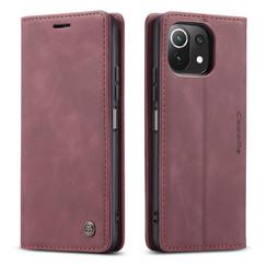 CaseMe - Xiaomi Mi 11 Lite Hoesje - Wallet Book Case - Magneetsluiting - Donker Rood