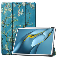 Huawei MatePad Pro 10.8 (2021) Hoes - Tri-Fold Book Case - Witte Bloesem