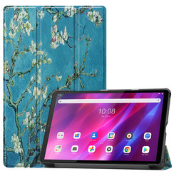 Lenovo Tab K10 (10.3 Inch) Hoes - Tri-Fold Book Case - Witte Bloesem