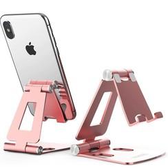 Telefoon en Tablet houder - Ergonomisch design - Opvouwbaar - Smartphone standaard voor Bureau of Tafel - Rose Goud