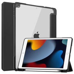 Case2go - Tablet hoes geschikt voor iPad 2021 - 10.2 Inch - Transparante Case - Tri-fold Back Cover - Zwart
