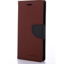 Telefoonhoesje geschikt voor Apple iPhone 13 Mini - Mercury Fancy Diary Wallet Case - Hoesje met Pasjeshouder - Bruin/Zwart