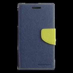Telefoonhoesje geschikt voor Apple iPhone 13 Pro - Mercury Fancy Diary Wallet Case - Hoesje met Pasjeshouder - Donker Blauw/Lime