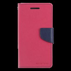 Telefoonhoesje geschikt voor Apple iPhone 13 Pro - Mercury Fancy Diary Wallet Case - Hoesje met Pasjeshouder - Magenta/Blauw