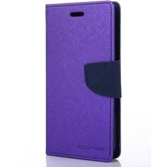 Telefoonhoesje geschikt voor Apple iPhone 13 Pro - Mercury Fancy Diary Wallet Case - Hoesje met Pasjeshouder - Paars/Blauw