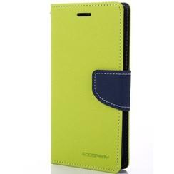 Telefoonhoesje geschikt voor Apple iPhone 13 Pro - Mercury Fancy Diary Wallet Case - Hoesje met Pasjeshouder - Lime Groen/Blauw