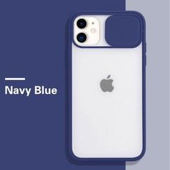 Mercury Goospery - Telefoonhoesje geschikt voor iPhone 13 Pro Max - Camera Slide Case - Back Cover - Donker Blauw