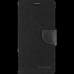 Telefoonhoesje geschikt voor iPhone 13 Mini - Mercury Canvas Diary Wallet Case - Hoesje met Pasjeshouder - Zwart