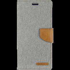 Telefoonhoesje geschikt voor iPhone 13 Mini - Mercury Canvas Diary Wallet Case - Hoesje met Pasjeshouder - Grijs
