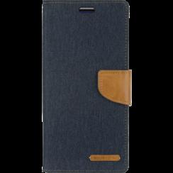 Telefoonhoesje geschikt voor iPhone 13 Mini - Mercury Canvas Diary Wallet Case - Hoesje met Pasjeshouder - Donker Blauw