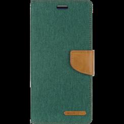 Telefoonhoesje geschikt voor iPhone 13 Mini - Mercury Canvas Diary Wallet Case - Hoesje met Pasjeshouder - Groen