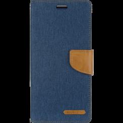 Telefoonhoesje geschikt voor iPhone 13 Mini - Mercury Canvas Diary Wallet Case - Hoesje met Pasjeshouder - Blauw