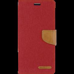 Telefoonhoesje geschikt voor iPhone 13 Pro - Mercury Canvas Diary Wallet Case - Hoesje met Pasjeshouder - Rood