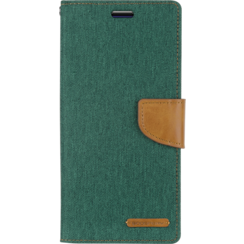 Telefoonhoesje geschikt voor iPhone 13 Pro - Mercury Canvas Diary Wallet Case - Hoesje met Pasjeshouder - Groen