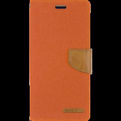 Telefoonhoesje geschikt voor iPhone 13 Pro - Mercury Canvas Diary Wallet Case - Hoesje met Pasjeshouder -Oranje