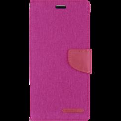Telefoonhoesje geschikt voor iPhone 13 Pro - Mercury Canvas Diary Wallet Case - Hoesje met Pasjeshouder - Roze
