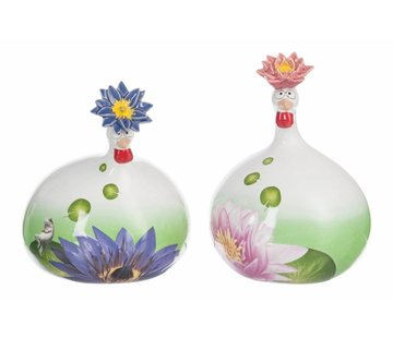 J -Line Ceramic Chicken Water Lily Purple Pink - Large