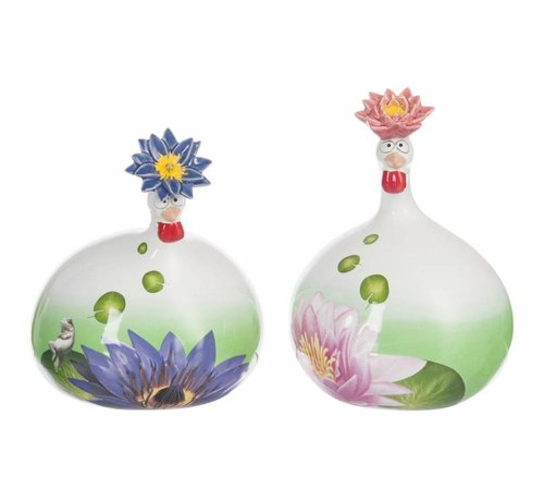 J-Line Ceramic chickens Water Lily Large