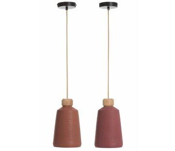 J -Line Hanging Lamp  Porcelain Conical Cement Bordeaux - Mix