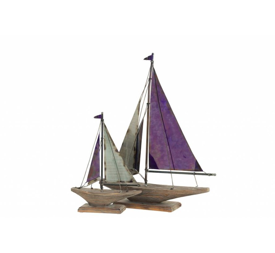 Decoration Sailboat On Foot Wood Metal Blue Natural - Small