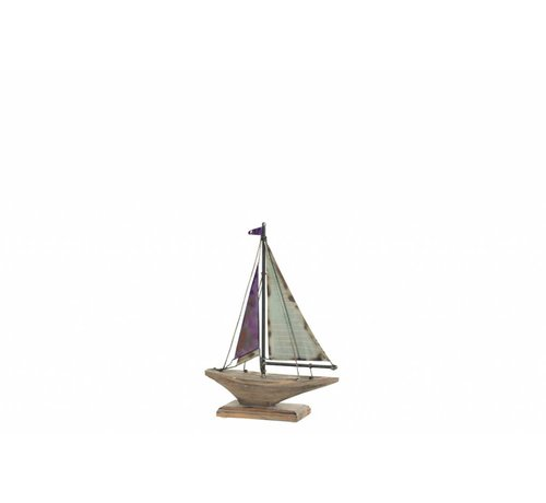 J -Line Decoration Sailboat On Foot Wood Metal Blue Natural - Small