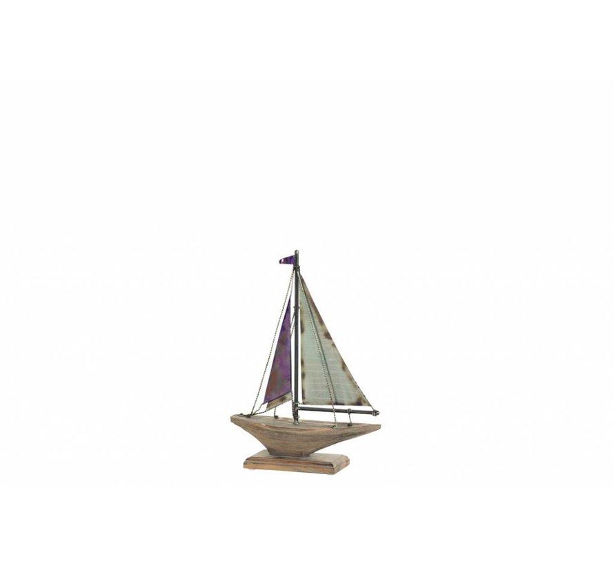 Decoratie Zeilboot Op Voet Hout Metaal Blauw Naturel - Small