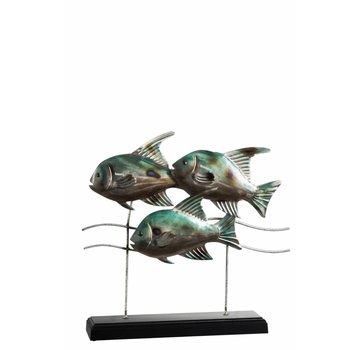 J -Line Decoration Fishing On foot Metal Wood Blue - Gray