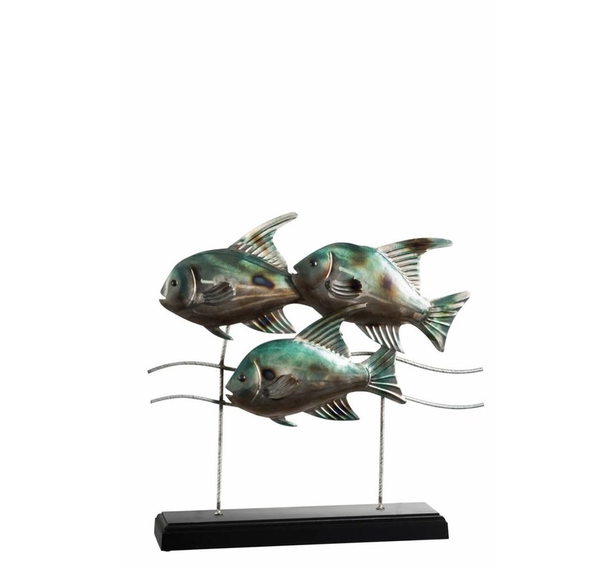 Decoration Fishing On foot Metal Wood Blue - Gray