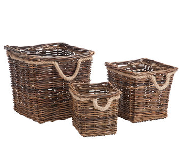 J -Line Basket Square Willow Rope - Natural