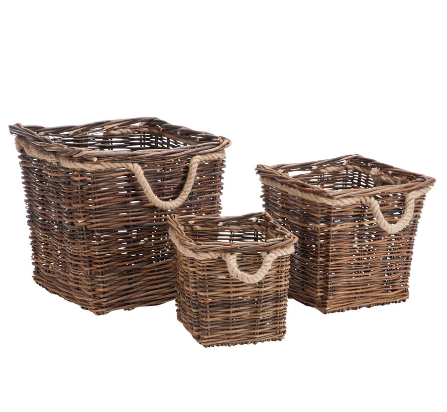 Basket Square Willow Rope - Natural