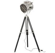 J -Line Staande Lamp driepoot Staal Hout Zilver - Zwart