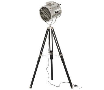 J -Line Standing Lamp tripod Steel Wood Silver - Black