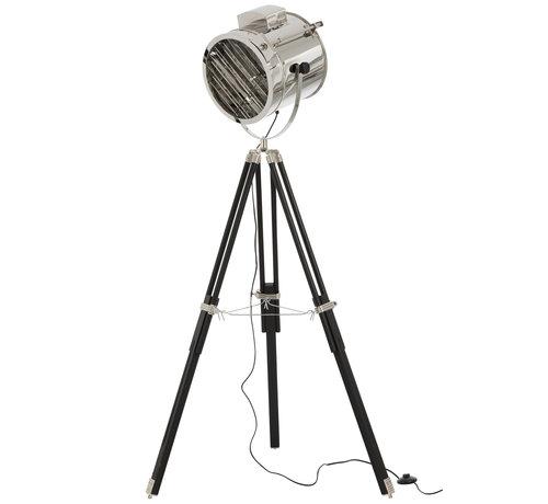 J-Line Staande Lamp driepoot Staal Hout Zilver - Zwart