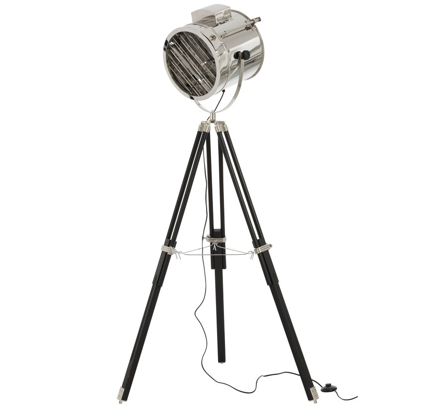 Staande Lamp driepoot Staal Hout Zilver - Zwart