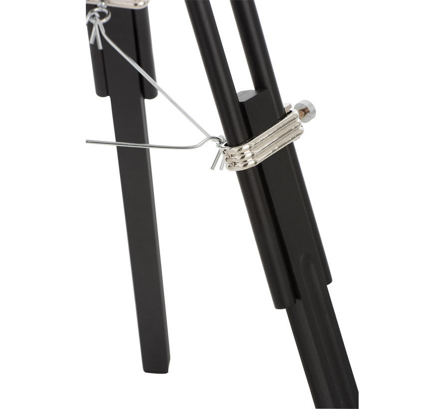 Standing Lamp tripod Steel Wood Silver - Black