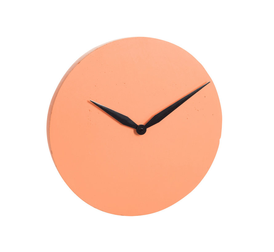 Wall Clock Round Modern Stone - Orange