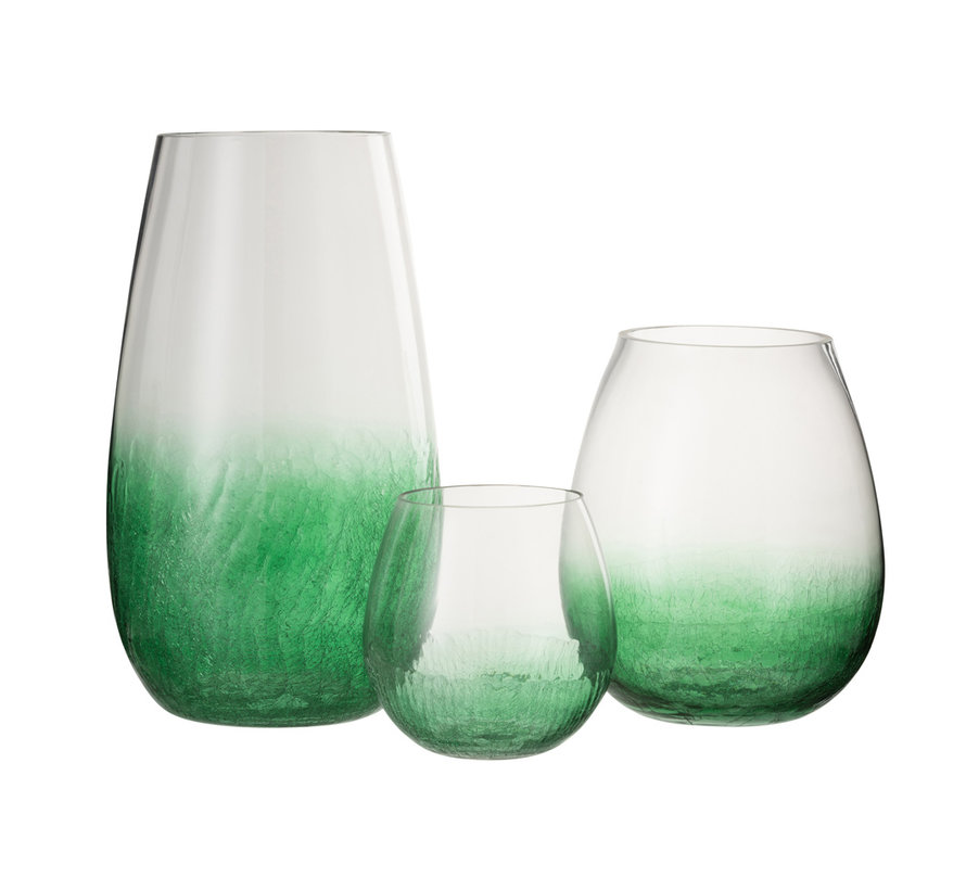 Windlicht Glas Bol groen - Large