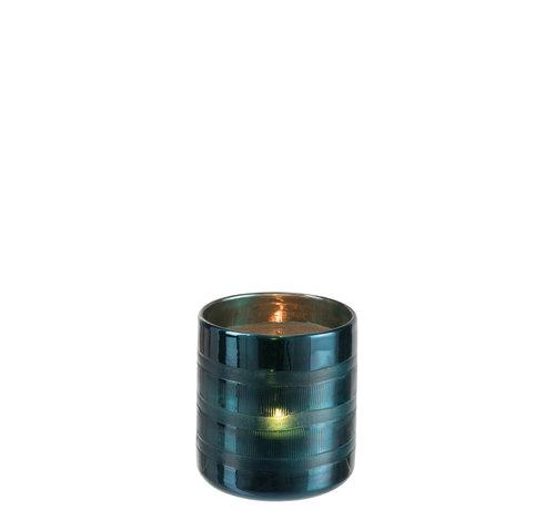 J -Line Windlicht Glas Cilinder Blauw - Medium