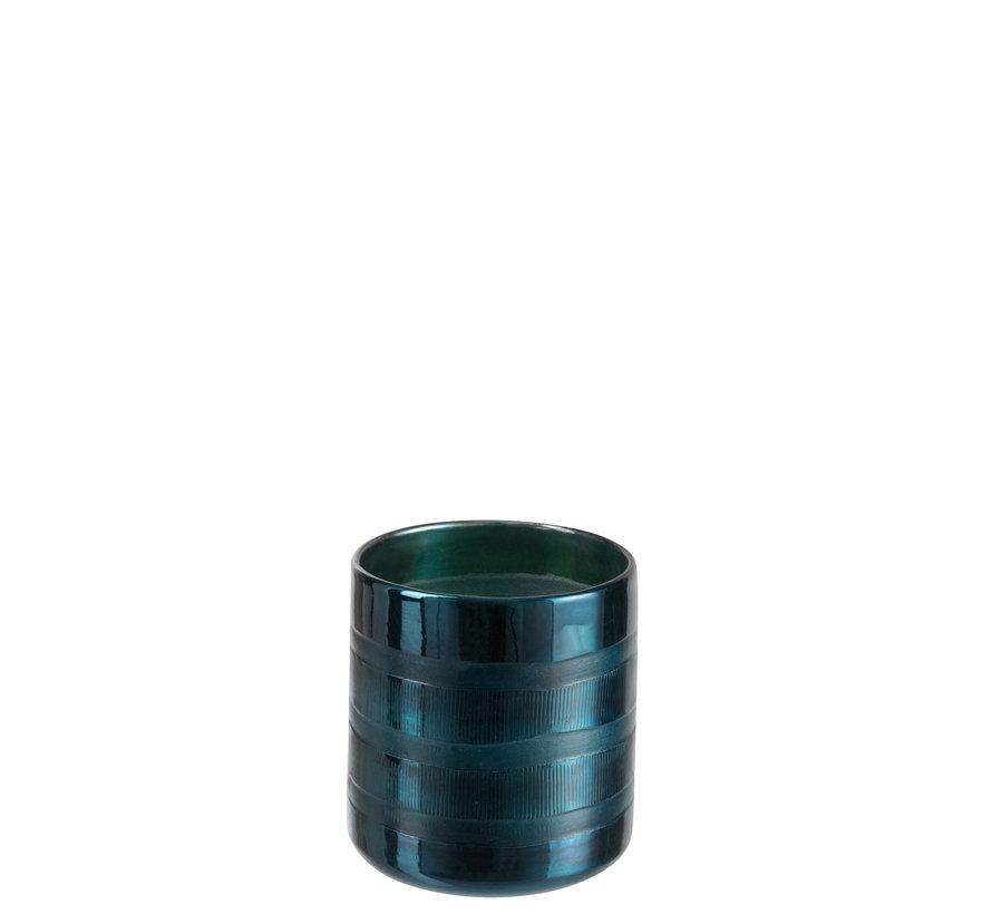 Windlicht Glas Cilinder Blauw - Medium
